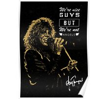 Rocker singing stylish poster on black background Poster