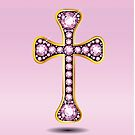 Christian Cross in Gold with Rose Quartz Stones by Stacey Lynn Payne