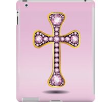 Christian Cross in Gold with Rose Quartz Stones iPad Case/Skin