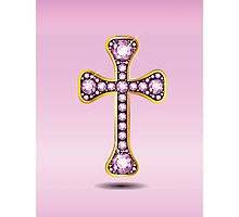 Christian Cross in Gold with Rose Quartz Stones Photographic Print