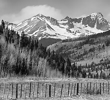 Valley and Rocky Mountains in Black and White by Bo Insogna