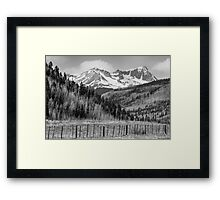 Valley and Rocky Mountains in Black and White Framed Print