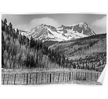 Valley and Rocky Mountains in Black and White Poster
