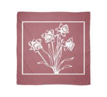 Marsala and White Daffodil Design Scarf