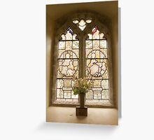 Stained window and flowers Greeting Card