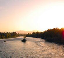 Sunsetting on Sundial Bridge by BellaStarr