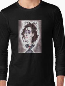 Victorian Gothic Dark Caricature Drawing Long Sleeve T-Shirt