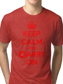 Keep Calm Carry On Calgary Red Tri-blend T-Shirt