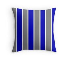Gray Blue and White-Striped Throw Pillow