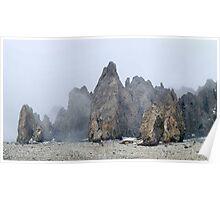 Misty Mountain Rocks Poster