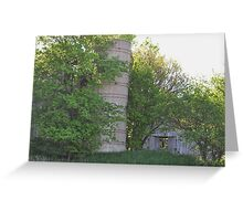 Silo and barns behind trees Greeting Card