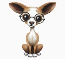 Cute Curious Chihuahua Wearing Eye Glasses Teal Kids Clothes