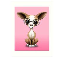 Cute Curious Chihuahua Wearing Eye Glasses Pink Art Print