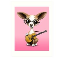 Chihuahua Puppy Dog Playing Old Acoustic Guitar Pink Art Print