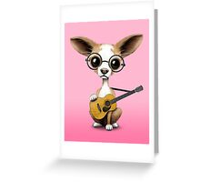 Chihuahua Puppy Dog Playing Old Acoustic Guitar Pink Greeting Card