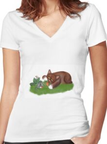 Strawberries for Mouse and Kitten Women's Fitted V-Neck T-Shirt
