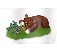 Strawberries for Mouse and Kitten Poster