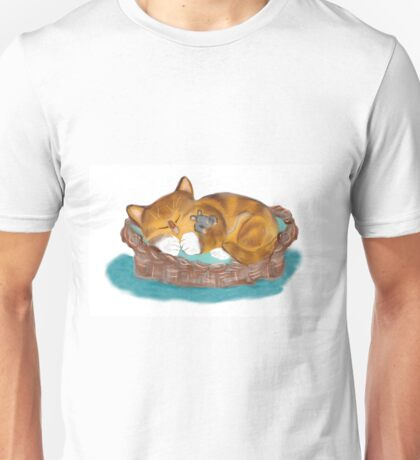 Kitten and Mouse Nap in the Cat Basket Unisex T-Shirt
