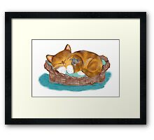 Kitten and Mouse Nap in the Cat Basket Framed Print