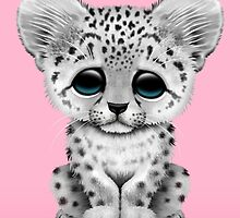Cute Baby Snow Leopard Cub on Pink by Jeff Bartels