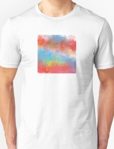 Abstract in Aqua, Red, and Yellow T-Shirt