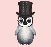 Cute Baby Penguin with Monocle and Top Hat on Pink Kids Clothes