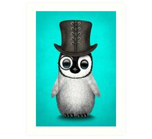Cute Baby Penguin with Monocle and Top Hat on Blue Art Print