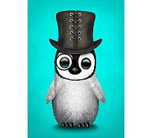 Cute Baby Penguin with Monocle and Top Hat on Blue Photographic Print