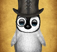 Cute Baby Penguin with Monocle and Top Hat on Yellow by Jeff Bartels