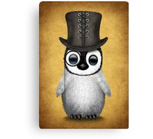 Cute Baby Penguin with Monocle and Top Hat on Yellow Canvas Print