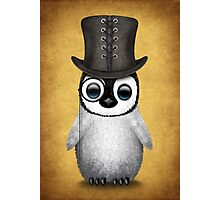 Cute Baby Penguin with Monocle and Top Hat on Yellow Photographic Print