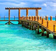Deserted Caribbean Sea Pier - Playa del Carmen by Mark Tisdale