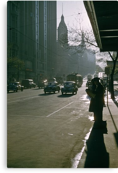 Looking east Collins Street early morning 19570100 0000 by Fred Mitchell