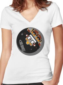 Robot Lost In Space Women's Fitted V-Neck T-Shirt