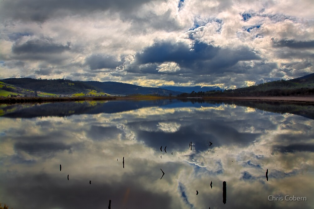 Huon River clouds by Chris Cobern