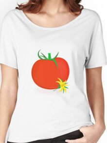 Ripe tomato with green stalk and yellow tomato flower lying near it Women's Relaxed Fit T-Shirt