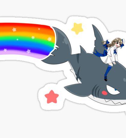 Wadanohara and the Great Blue Sea - Wadanohara and Samekichi riding the Rainbow Sticker