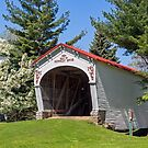 White Covered Bridge with Red Roof by Kenneth Keifer