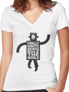 Robotic Beings - Bret Women's Fitted V-Neck T-Shirt