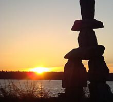SUNSET INUKSHUK  by redskydawning