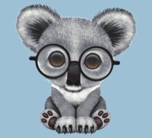 Cute Baby Koala Bear Cub Wearing Glasses on Blue Kids Clothes