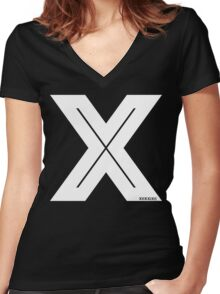 X Inline [White Ink] Women's Fitted V-Neck T-Shirt