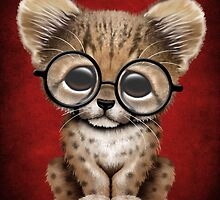 Cute Cheetah Cub Wearing Glasses on Red by Jeff Bartels