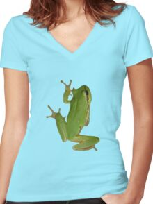 Green Tree Frog Women's Fitted V-Neck T-Shirt