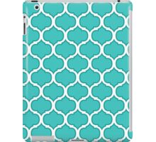 Teal and White Latticework Graphic iPad Case/Skin