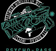 Psycho Pass Ministry of Welfare Bureau Criminal Investigation Department Logo Dominator Anime Cosplay T Shirt by ryoka
