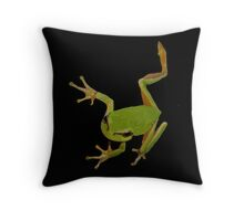 European Green Tree Frog Isolated Throw Pillow
