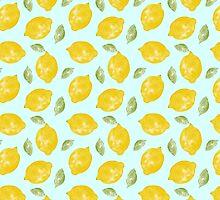 Watercolor Lemons and Leaves by cikedo