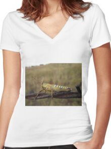 Grasshopper on barbed wire Women's Fitted V-Neck T-Shirt