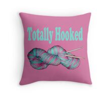 Totally hooked blue on pink version Throw Pillow